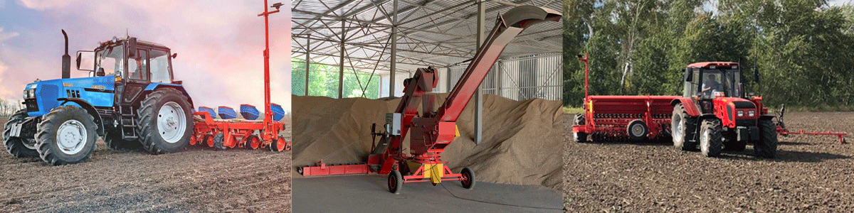 Machines for all kinds of grain cleaning, grain-throwers and loaders, bucket elevators